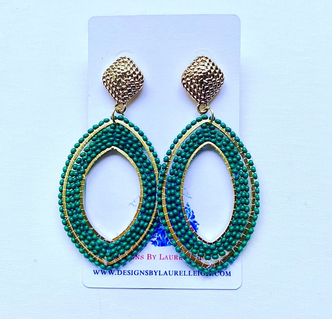 Gold and Green Oval Seed Bead Statement Earrings - Posts - Ginger jar