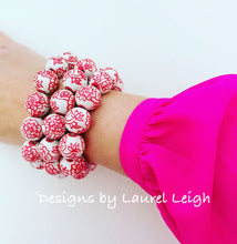 Load image into Gallery viewer, Chinoiserie Red Peony Flower Beaded Statement Bracelet