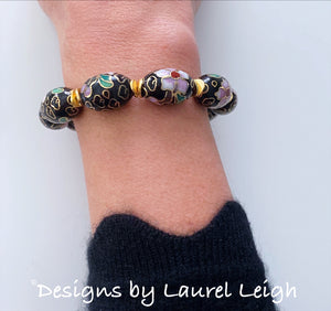 Black, Gold and Pink Chinoiserie Cloisonné Statement Bracelet
