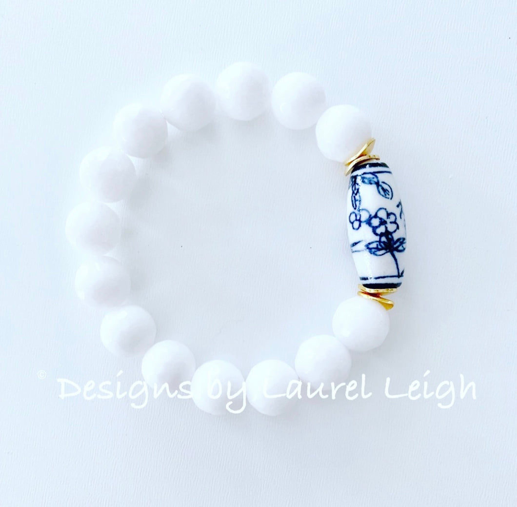 Chunky Blue and White Chinoiserie Bead Statement Bracelet - Ginger jar