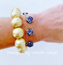 Load image into Gallery viewer, Chinoiserie Coin Bead Charm Bracelet - Ginger jar