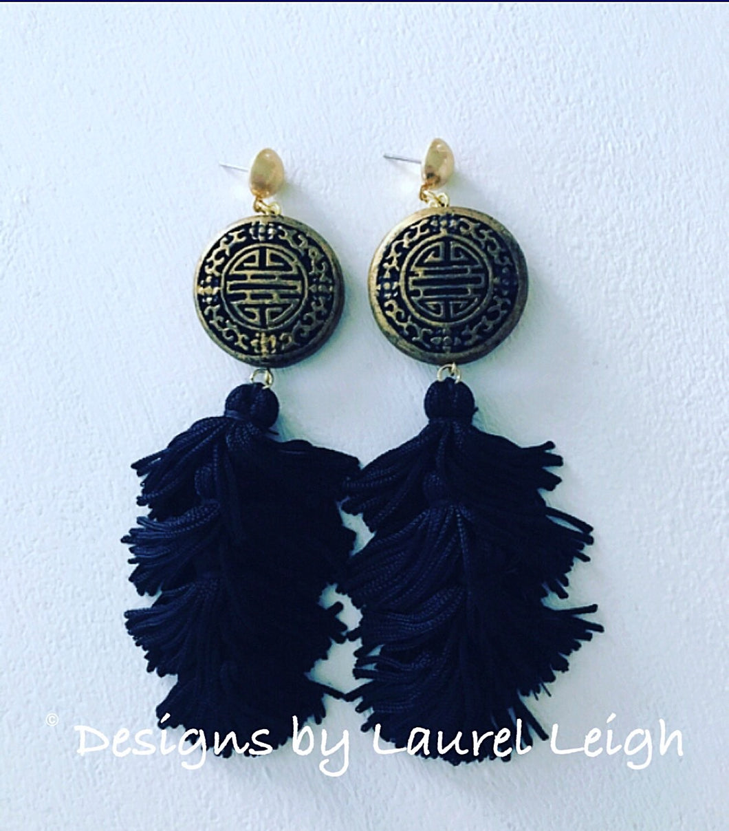 Chinoiserie Slinky Tassel Statement Earrings - Black & Gold - Ginger jar