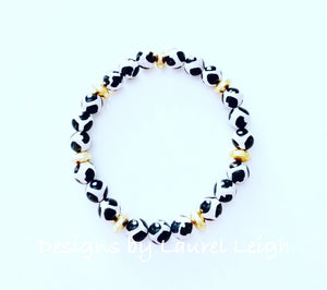 Black, Gold & White Tibetan Agate Gemstone Statement Bracelet - Ginger jar