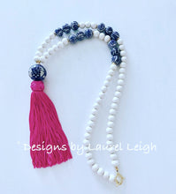Load image into Gallery viewer, Blue and White Chinoiserie XL Tassel Statement Necklace - 3 Colors - Ginger jar