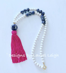 Blue and White Chinoiserie XL Tassel Statement Necklace - 3 Colors - Ginger jar
