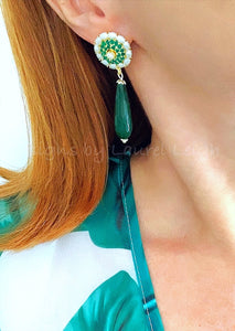 Gold Teardrop Earrings - Emerald Green Gemstone & Pearls - Ginger jar