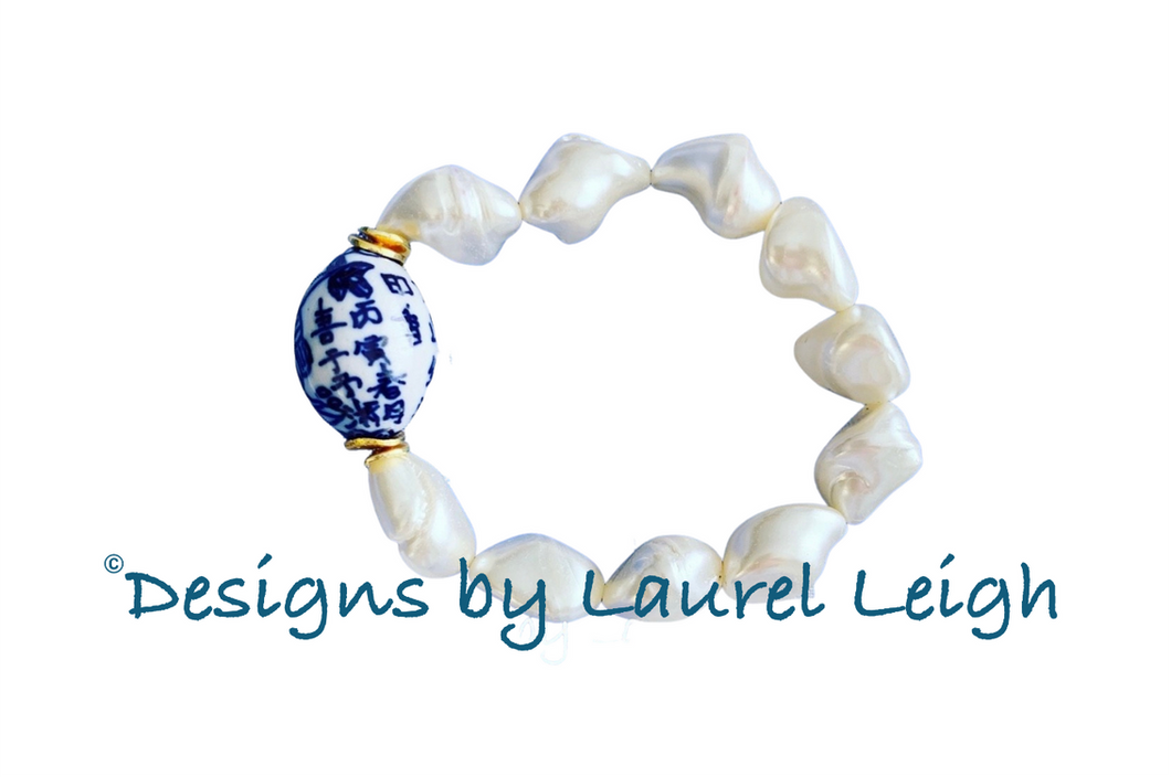 Chinoiserie Mother of Pearl Nugget Bracelet