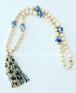 Chinoiserie Leopard Print Tassel Statement Necklace - Natural - Ginger jar