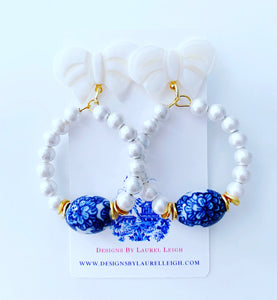 Blue and White Chinoiserie Floral Bow & Pearl Hoop Earrings - 2 Styles