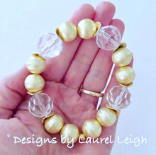 Load image into Gallery viewer, Gold and Crystal Chunky Beaded Statement Bracelet - Ginger jar