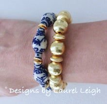 Load image into Gallery viewer, Blue and White Chinoiserie Ginger Jar Beaded Bracelet - Ginger jar