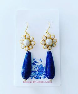 Blue Lapis and Gold Floral Pearl Teardrop Earrings - Ginger jar