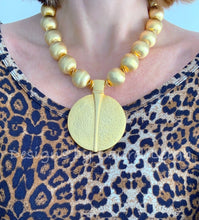 Load image into Gallery viewer, Chunky Gold Pendant Statement Necklace - Ginger jar