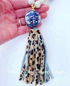 Blue and White Chinoiserie Double Happiness Leopard Print Tassel Statement Necklace - Ginger jar