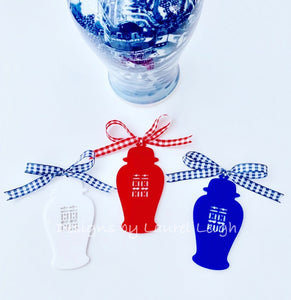 Chinoiserie Double Happiness Ginger Jar Christmas Ornament -Blue/White/Red - Ginger jar