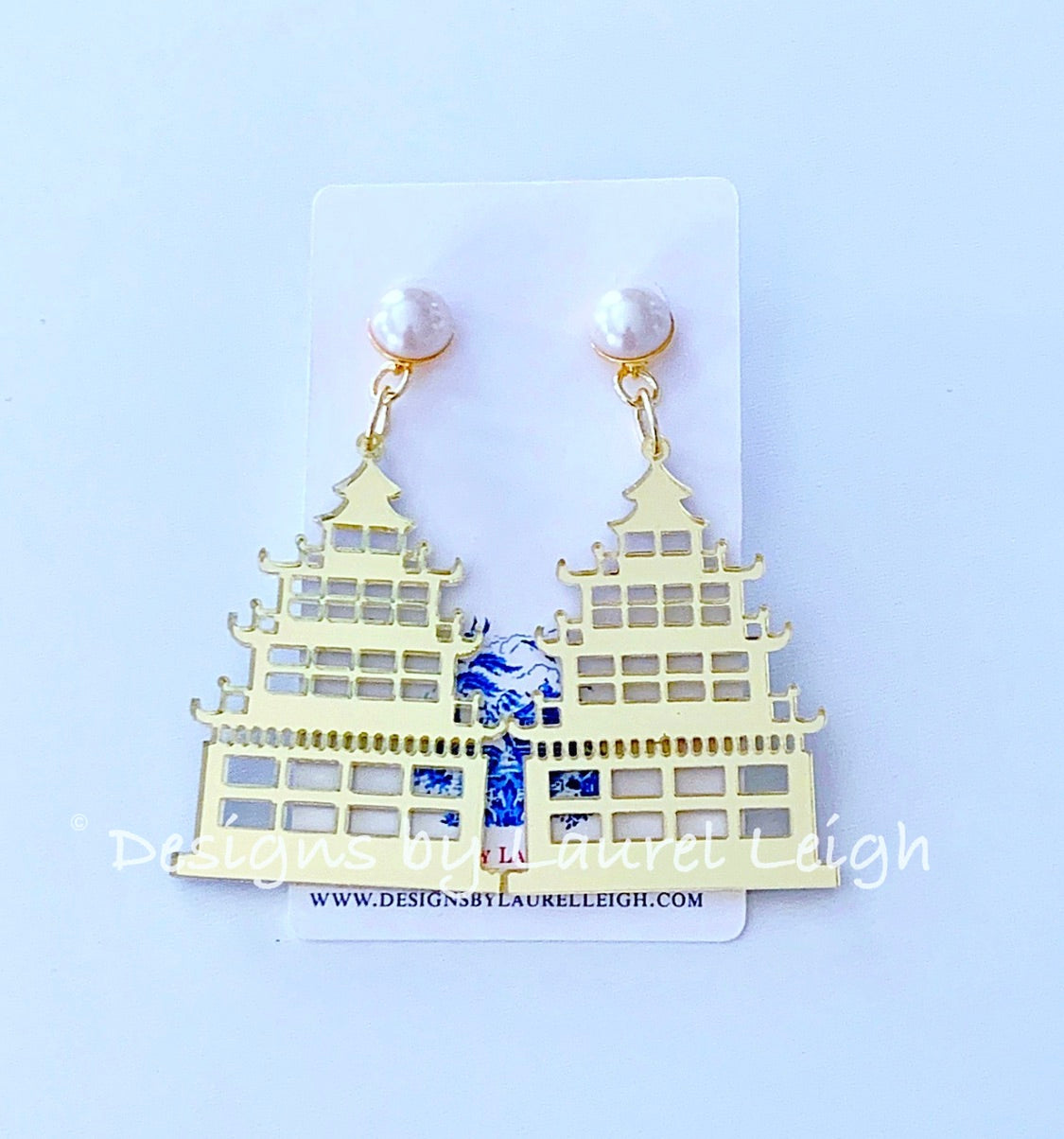Chinoiserie Chic Pagoda Earrings Gold Or Pink