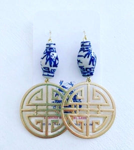 Chinoiserie Chic Longevity Symbol Statement Earrings - Metal - Ginger jar