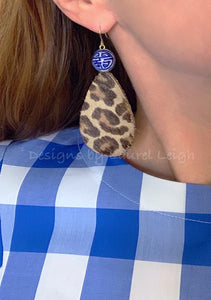 Chinoiserie Leather Leopard Print Statement Earrings - Ginger jar