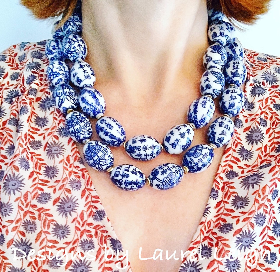 Chunky Blue & White Double Strand Statement Necklace - Oval Floral Beads - Ginger jar