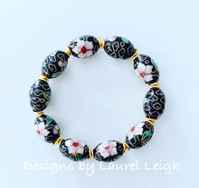 Load image into Gallery viewer, Black, Gold and Pink Chinoiserie Cloisonné Statement Bracelet