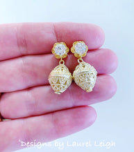 Load image into Gallery viewer, Dainty Gold Filigree & Rhinestone Earrings