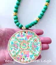 Load image into Gallery viewer, Rose Medallion Chinoiserie Pendant Necklace - Green - Ginger jar