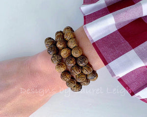 Brown Carved Horn Beaded Bracelet - Ginger jar