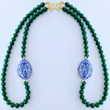 Load image into Gallery viewer, Green Jade Chinoiserie Statement Necklace - Ginger jar