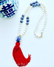 Load image into Gallery viewer, Blue and White Chinoiserie Tassel Statement Necklace - 3 Colors - Ginger jar