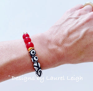 Black, White & Red Tibetan Agate Gemstone Statement Bracelet - Ginger jar