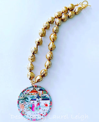 Chinoiserie Chic Pendant Necklace - Gold Baroque Pearls - Ginger jar