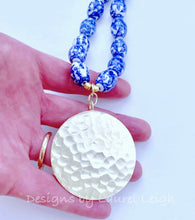 Load image into Gallery viewer, Blue and White Chinoiserie Vintage Beaded Statement Necklace - Ginger jar