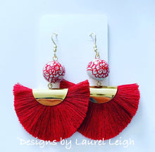 Load image into Gallery viewer, Chinoiserie Red Peony Fan Tassel Earrings