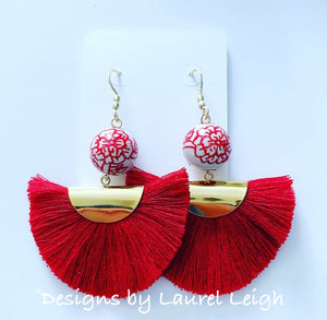 Chinoiserie Red Peony Fan Tassel Earrings