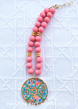 Load image into Gallery viewer, Rose Medallion Chinoiserie Pendant Necklace - Pink - Ginger jar