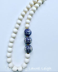 Blue and White Chinoiserie Chunky Statement Necklace - Designs by Laurel Leigh