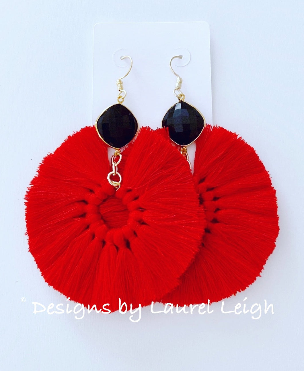 Gemstone Fan Tassel Earrings - Red & Black Game Day - Ginger jar