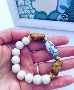 Blue and White Chinoiserie Bamboo Statement Bracelet - Ginger jar