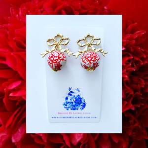 Chinoiserie Peony & Bow Earrings - Red & White