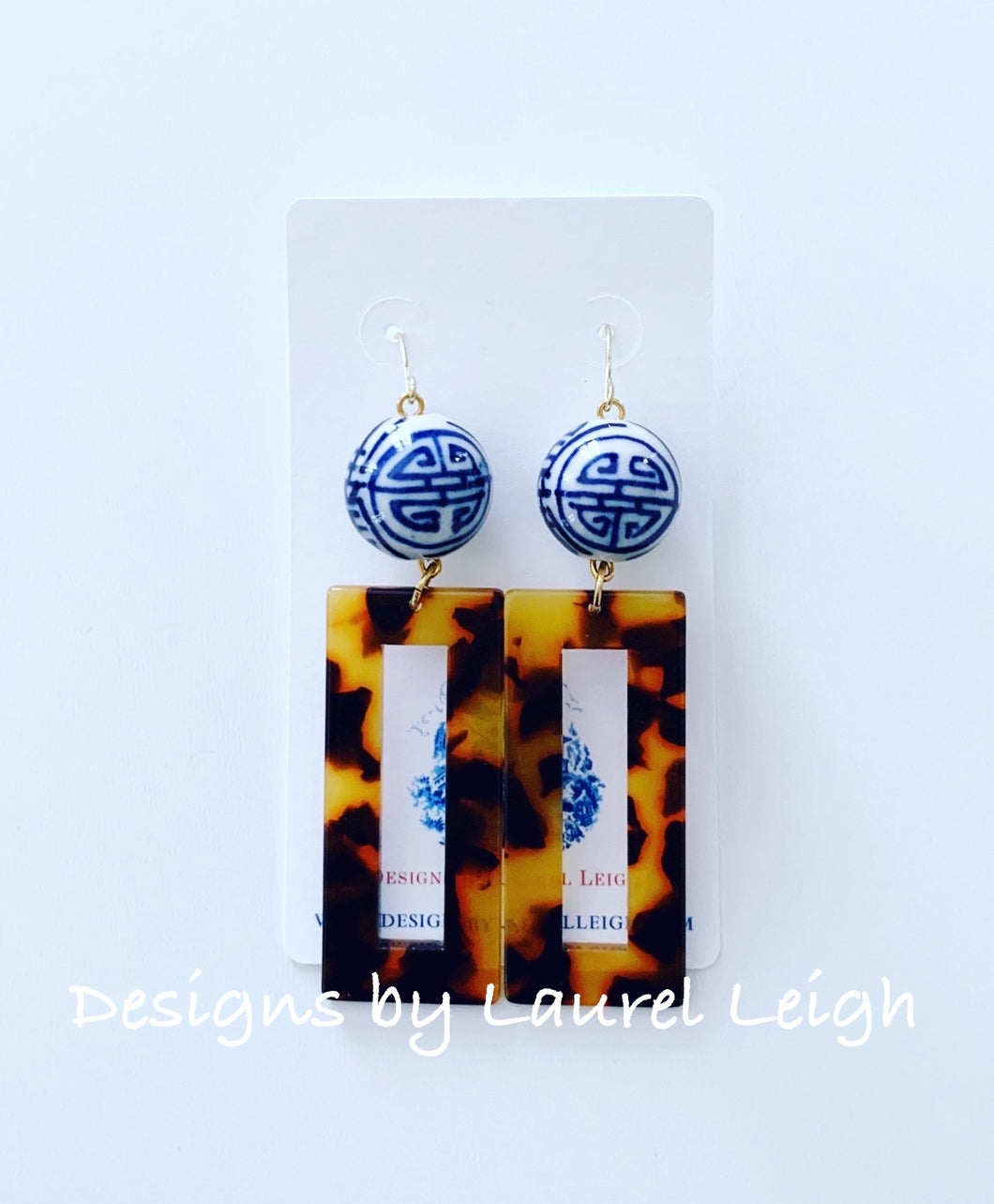 Chinoiserie Tortoise Shell Ginger Jar Earrings - Rectangle - Ginger jar