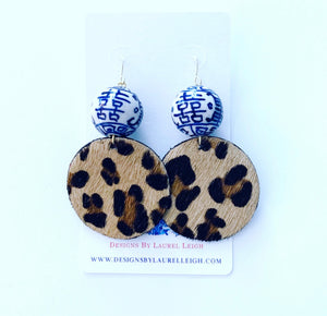 Chinoiserie Leather Leopard Print Statement Earrings - 2 Styles - Ginger jar