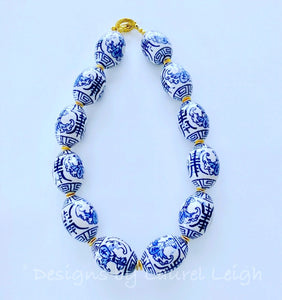 Chunky Blue and White Chinoiserie Oval Bead Statement Necklace - Ginger jar