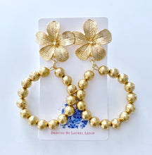 Load image into Gallery viewer, Floral Hammered Gold Beaded Hoop Earrings - Ginger jar