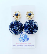 Load image into Gallery viewer, Blue and White Chinoiserie Coin Earrings with Gold Floral Posts