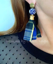 Load image into Gallery viewer, Chinoiserie Sari Silk Tartan Plaid Tassel Statement Earrings - Ginger jar