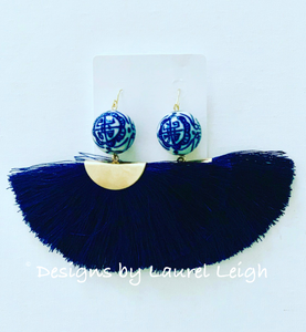 Chinoiserie Fan Tassel Earrings - Navy - Ginger jar