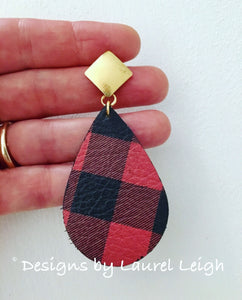 Buffalo Check Plaid Leather Statement Earrings - Red & Black or Black & White - Ginger jar