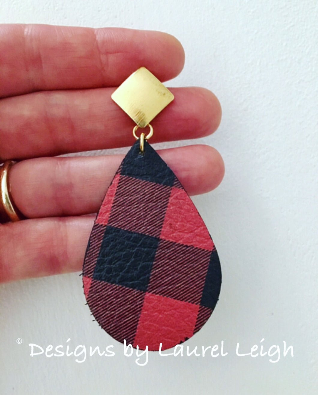Buffalo Check Plaid Leather Statement Earrings - Red & Black or Black & White - Designs by Laurel Leigh