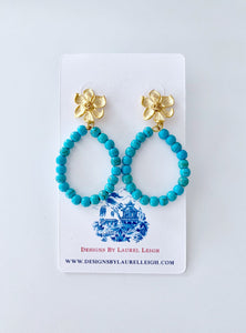 Turquoise Beaded Floral Hoops - Ginger jar