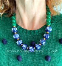Load image into Gallery viewer, Chunky Green Jade Chinoiserie Double Happiness Statement Necklace